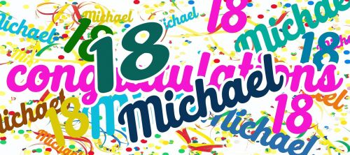 birthday,greeting,eighteen,michael,photoshop,congratulations,color,colorful,greeting card,joy,happy,balloon,streamer