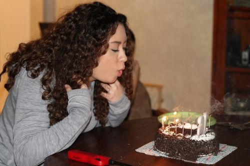 birthday blowing out candles cake