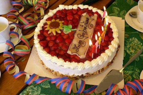 birthday table birthday cake strawberry pie