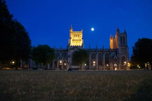 bishop church night moon
