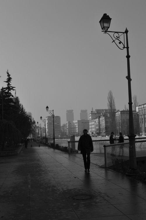 black black and white street