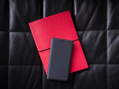 black leather phone