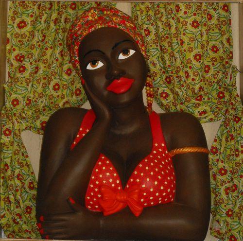 black doll statue