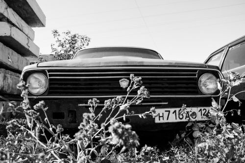 black and white auto car