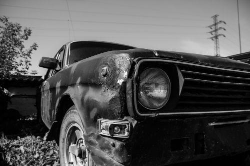 headlight car black and white