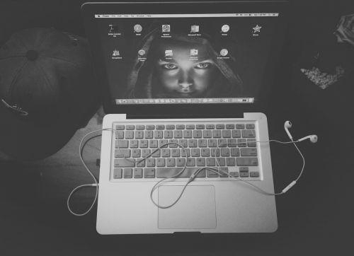 black and white apple laptop