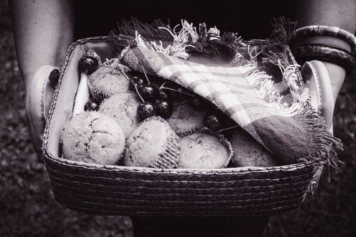 black and white muffins basket hands holding food basket
