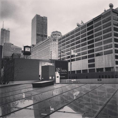 black and white downtown skyscraper