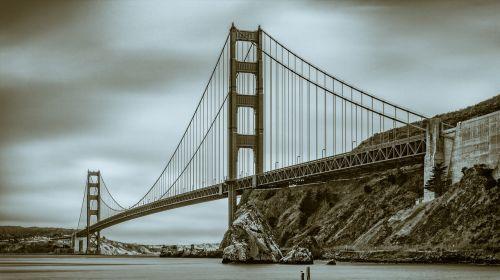 black and white golden gate bridge san francisco