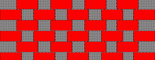 black and white red patterns