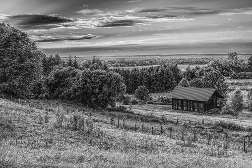 black and white rural hut
