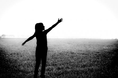 black and white,silhouette,girl,playful,sunny,black and white background,black,white,design,shape,outline,people,summer