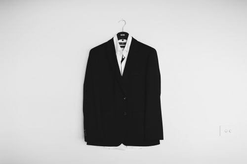 black and white coat suit