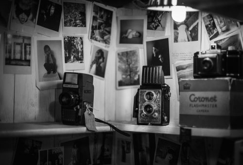 black and white photos wall