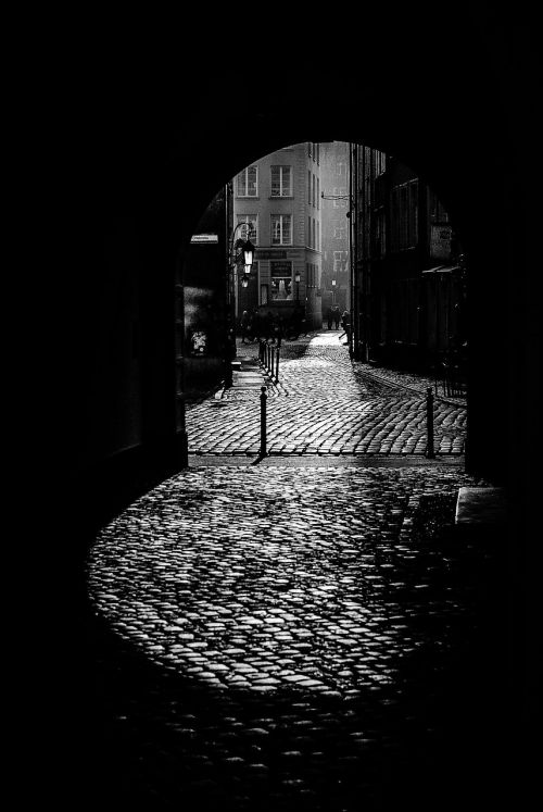 black and white dark alley the old town