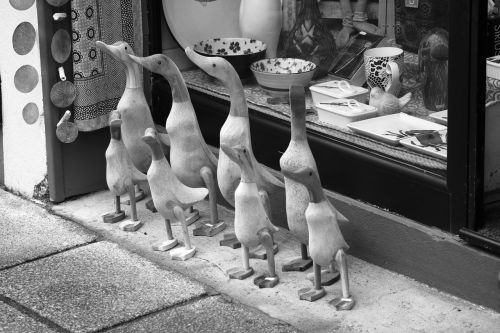 black and white street shop