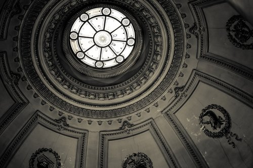 black and white  ceiling  building