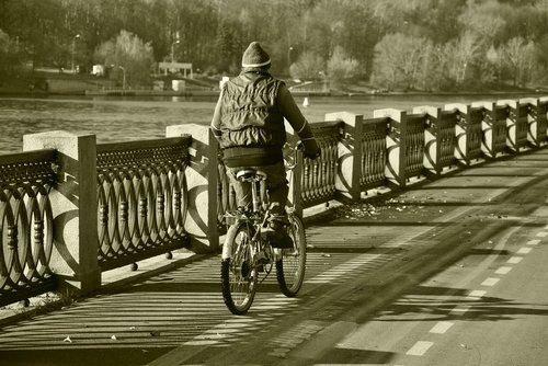 black and white  cyclist  man