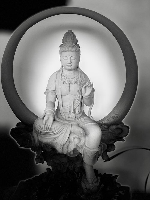 black and white  guanyin  serenity