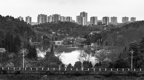 black and white  lake  building