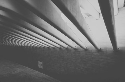 black and white architecture beams