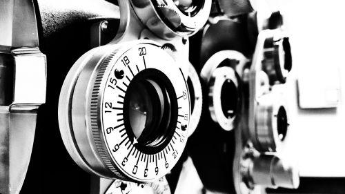 lens optometrist black and white