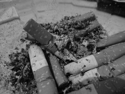 black and white cigarette ash