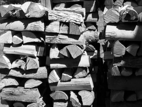 Black And White Wood Pile