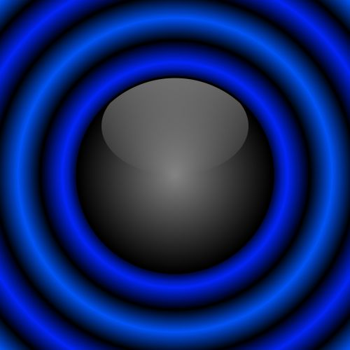 Black Ball With Blue Rings