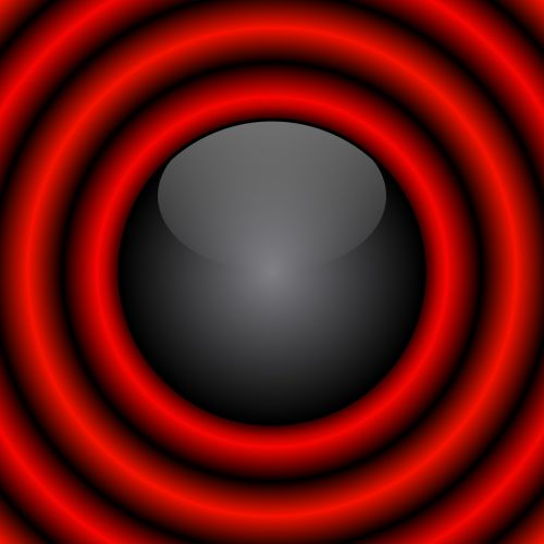 Black Ball With Red Rings