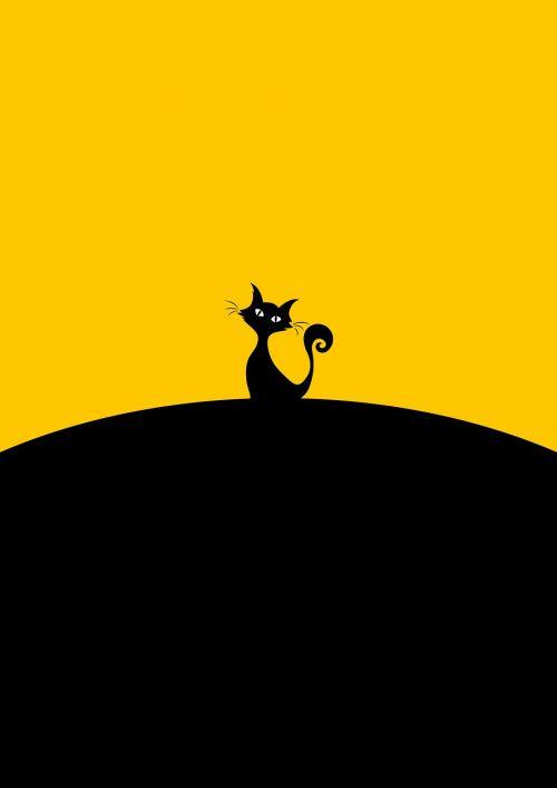 juoda katė,sėdi,katė,minimalistinis,menas,gyvūnas,dizainas,minimalistinis,animacinis filmas,naminis gyvūnėlis,vidaus,siluetas,šiuolaikiška,paprastas,kačiukas,butas,žinduolis,modelis,linksma,laukiniai,charakteris,paukštis,balta,juokinga,pussy,geltona,juoda