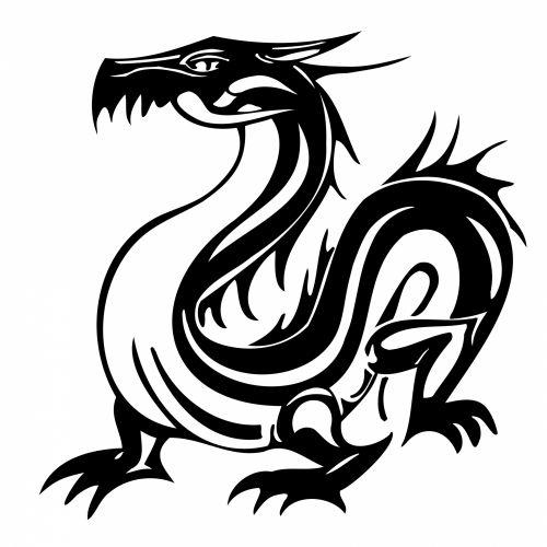 piešimas, animacinis filmas, juoda, drakonas, izoliuotas, balta, fonas, tatuiruotė, piktograma, avatar, menas, figūra, kinai, legenda, stovintis, juodas drakonas