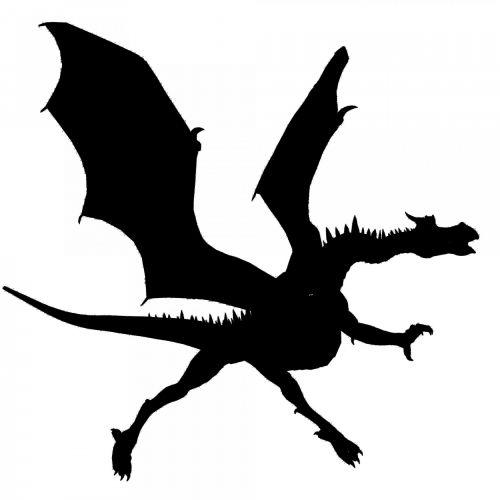 juoda, drakonas, siluetas, balta, fonas, izoliuotas, žvėrys, kinai, gyvūnas, legenda, juodas drakonas