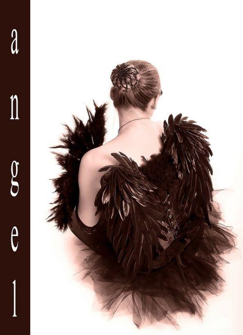 black engel wing woman