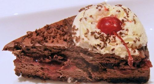 black forest cheesecake whipped cream cherry filling