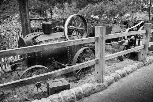 black white old machine