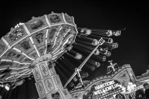 black white funfair funfair carousel