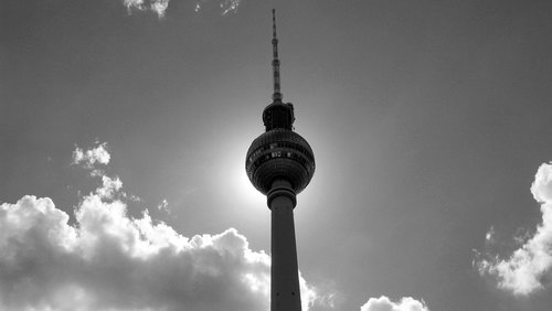black white  tv tower  capital