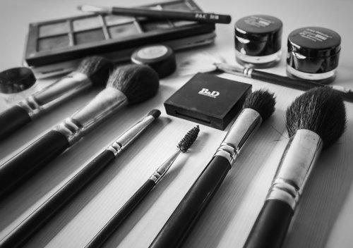 black white  flat lay  cosmetics