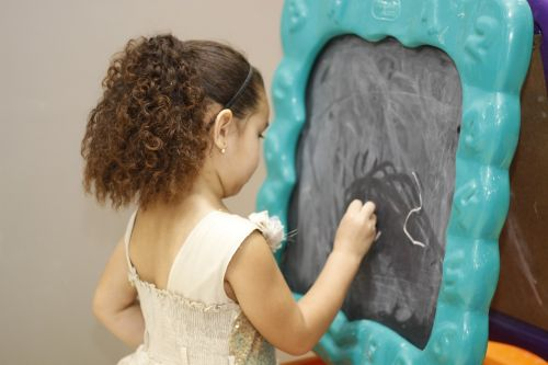 blackboard chalk child