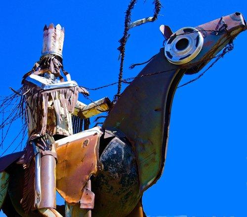 blackfeet warriors statue  sculpture  metal