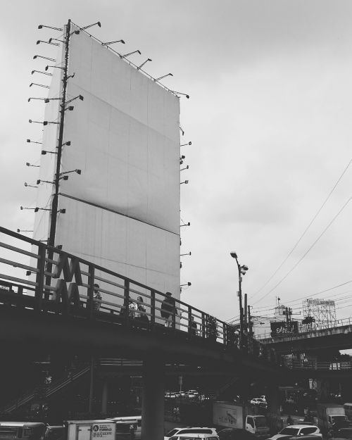 blank billboard footbridge black and white