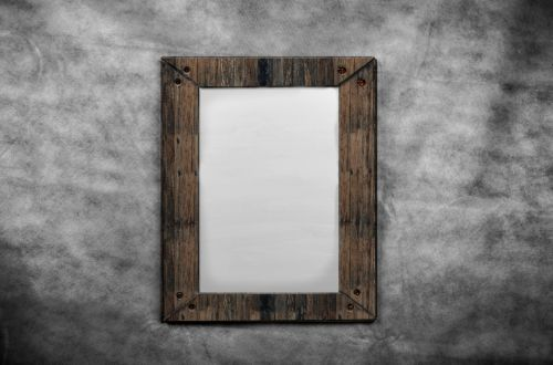 Blank Canvas In Old Wooden Frames