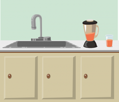 blender counter cupboard