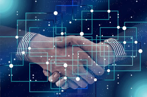 block chain personal shaking hands