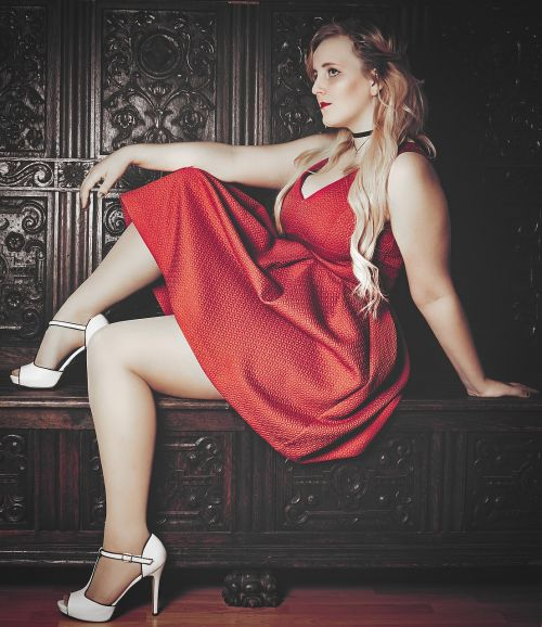 blond red dress high heels