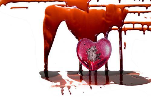 kraujas,širdis,skaldyta širdis,liūdnas,sunaikintas,kruvinas