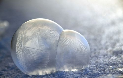 blow soap bubbles frosted