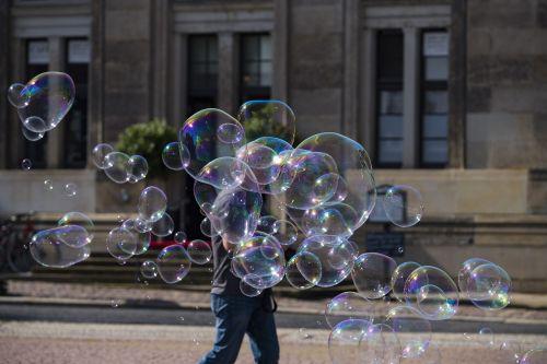 blow soap bubbles colorful