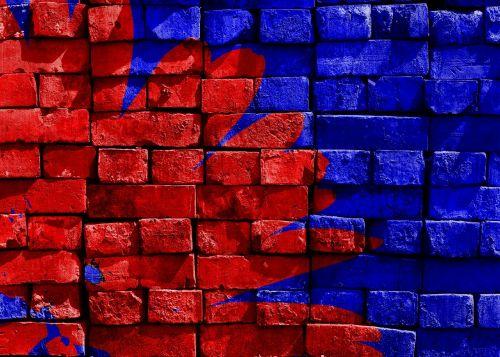 mėlynas,raudona,dažytos,plyta,siena,meno kūriniai,menas,apdaila,dažytos sienos